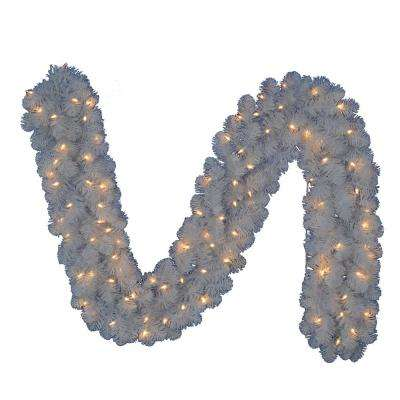 9 ft. Pre-Lit LED Artificial Glossy White North Hill Christmas Garland with 180 Tips and 100 Warm White Lights