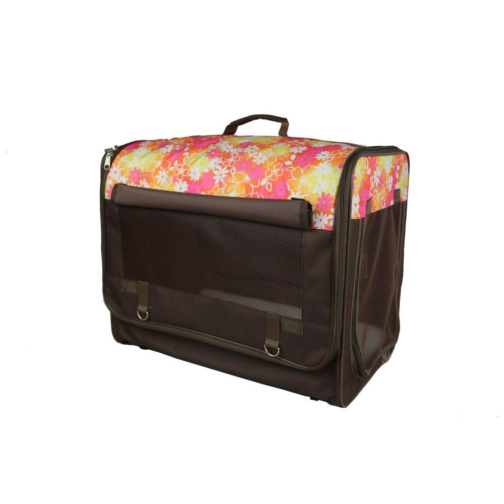 Pet Life Fire Red And Mudd Brown Floral Folding