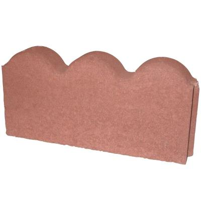 12 in. x 2 in. x 5.25 in. River Red Straight Scallop Concrete Edger