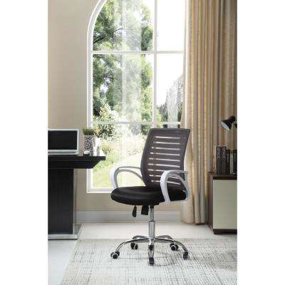 Adjustable Mid-Back Mesh Swivel Black Desk Chair with Chrome Base