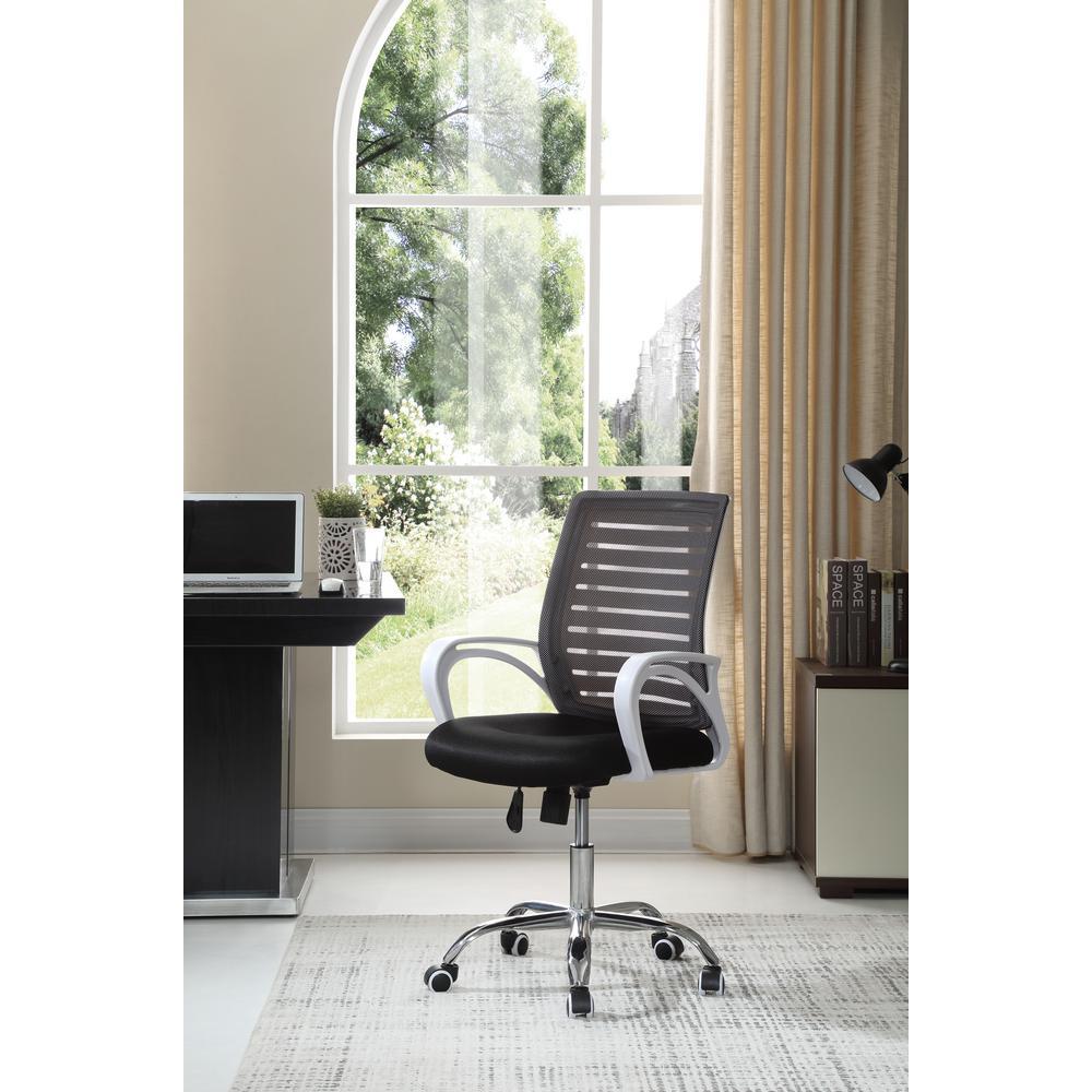 HODEDAH Adjustable Mid-Back Mesh Swivel Black Desk Chair with Chrome Base