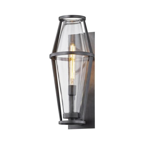 Prospect 21.5 in. 1-Light Graphite Wall Sconce with Clear Glass Shade