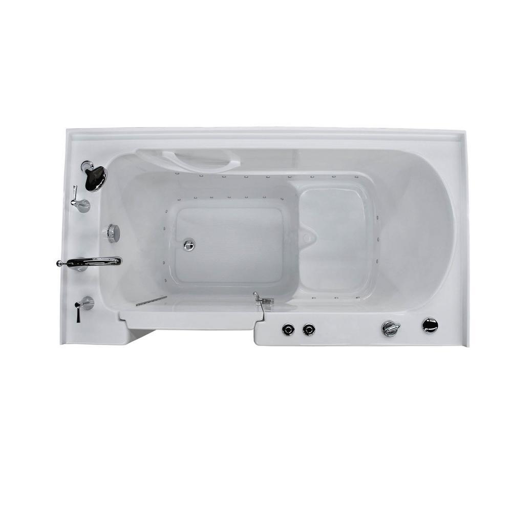 HD Series 32 in. x 60 in. Left Drain Quick Fill Walk-In Air Tub in White