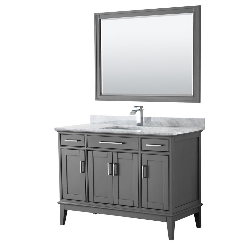 Wyndham Collection Margate 48 in. Bath Vanity in Dark Gray with Marble Vanity Top in White Carrara with White Basin and 44 in. Mirror