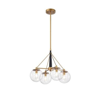 Fidel 20 in. 4-Light Indoor Gold and Black Finish Chandelier with Light Kit