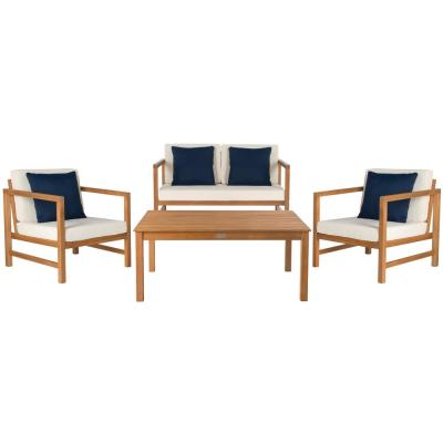 Montez Natural Brown 4-Piece Wood Patio Conversation Set with White/Navy Cushions