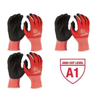 X-Large Red Nitrile Cut Level 1 Dipped Work Gloves (3-Pack)