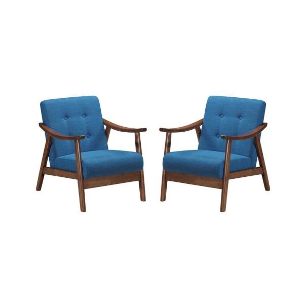 Blue Modern Accent Chairs.Noble House Chabani Mid Century Modern Tufted Navy Blue Fabric