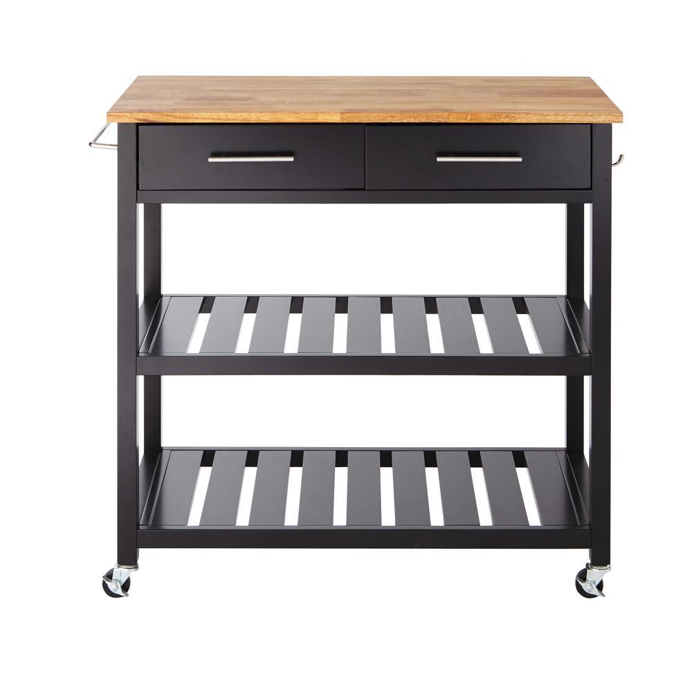 Glenville Black Kitchen Cart with 2 Shelves