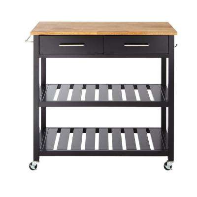 Glenville Black Double Kitchen Cart