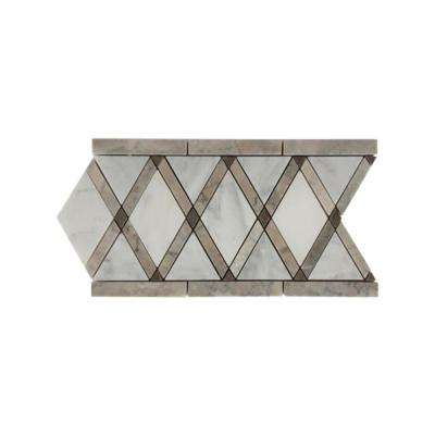 Grand Lagos Gray Border 6 in. x 12 in. x 10 mm Polished Marble Floor and Wall Tile