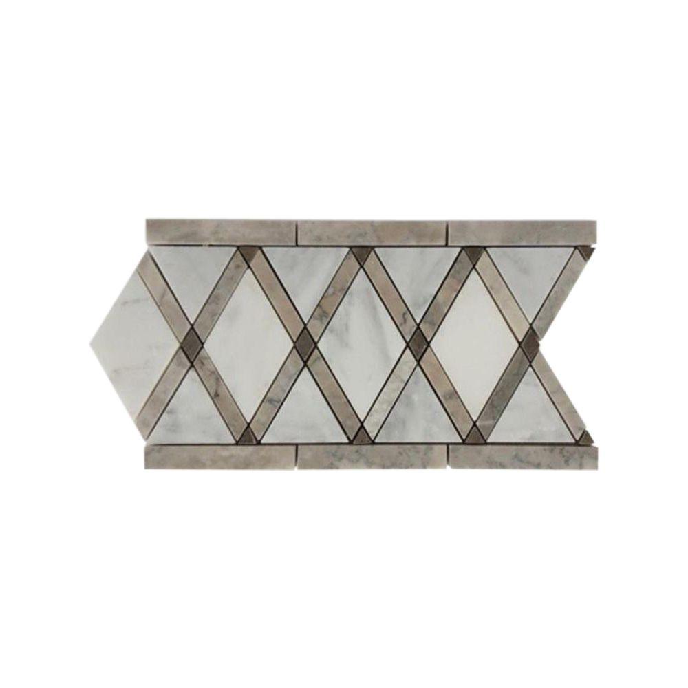 Splashback Tile Grand Lagos Gray Border 6 inch x 12 inch x 10 mm Polished Marble Floor and... by Splashback Tile