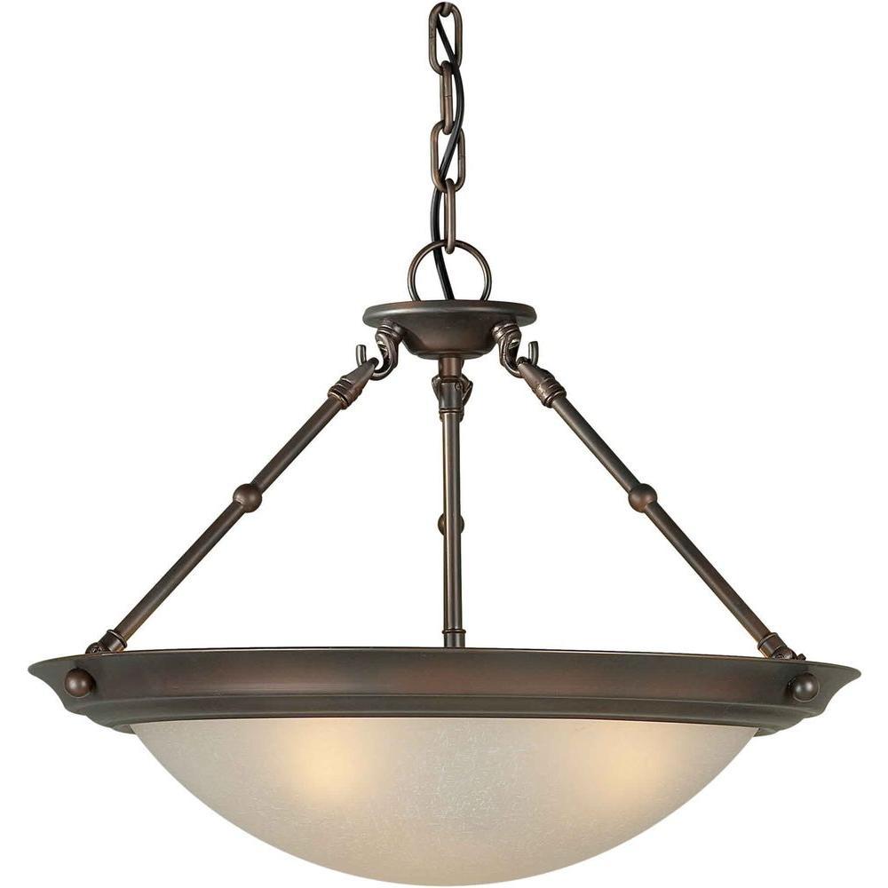 3-Light Antique Bronze Semi-Flush Mount Light with Umber Linen Glass