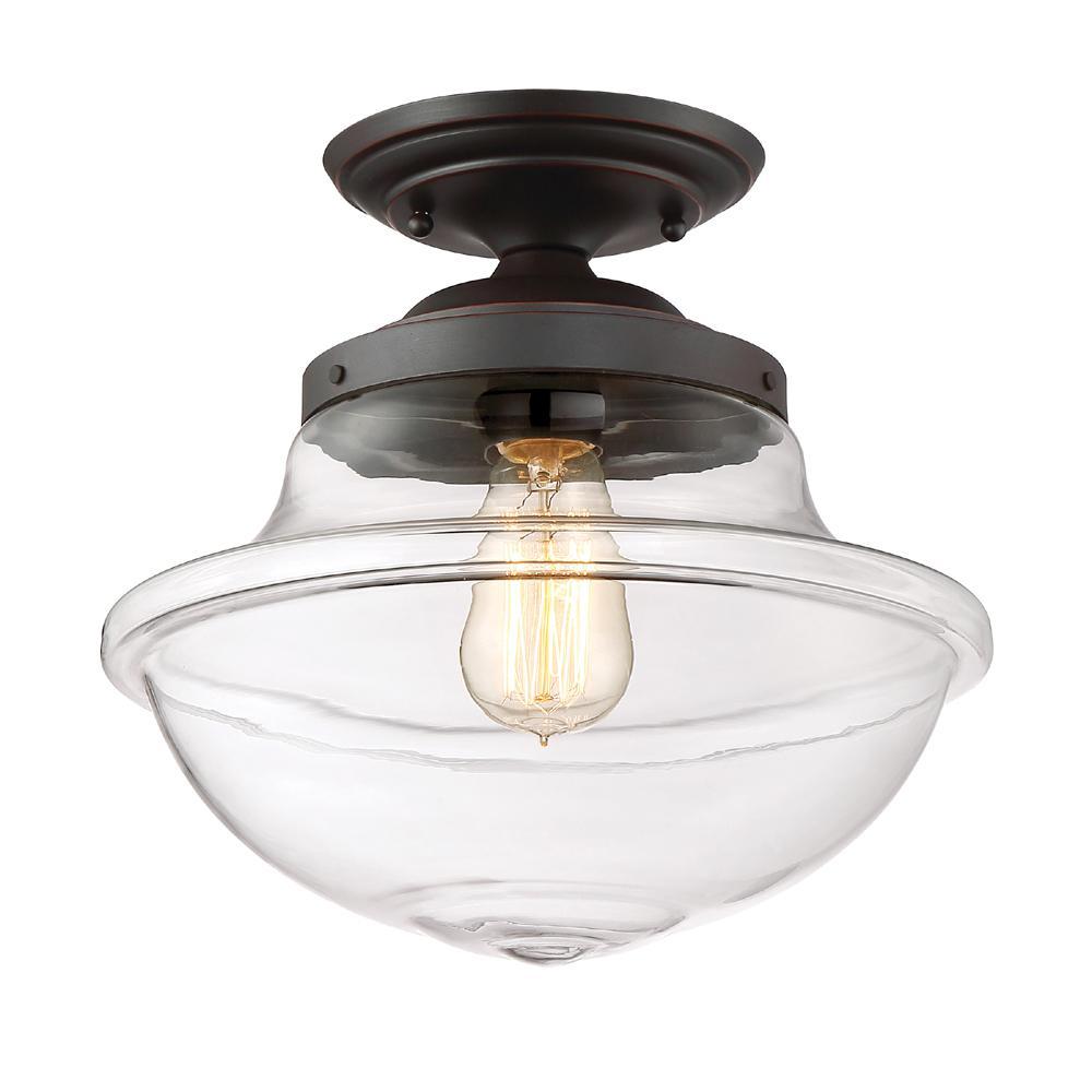 Designers Fountain Foundry 1 -Light Satin Bronze Semi-Flushmount Light