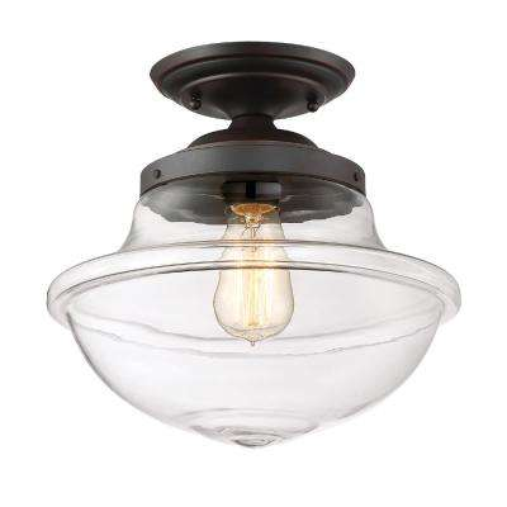Foundry 1 -Light Satin Bronze Semi-Flushmount Light