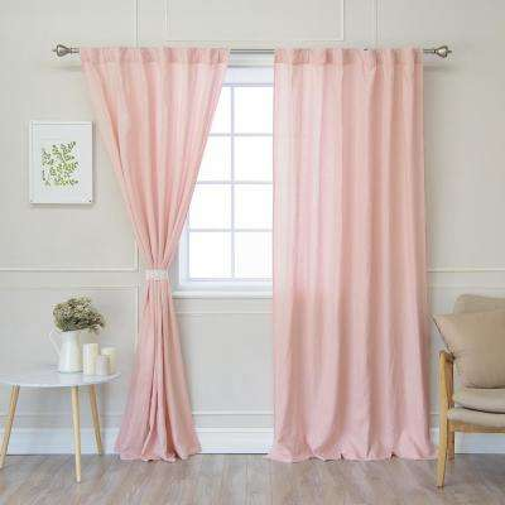 Pink 96 in. L Abelia Belgian Flax Linen Rod Pocket Panel