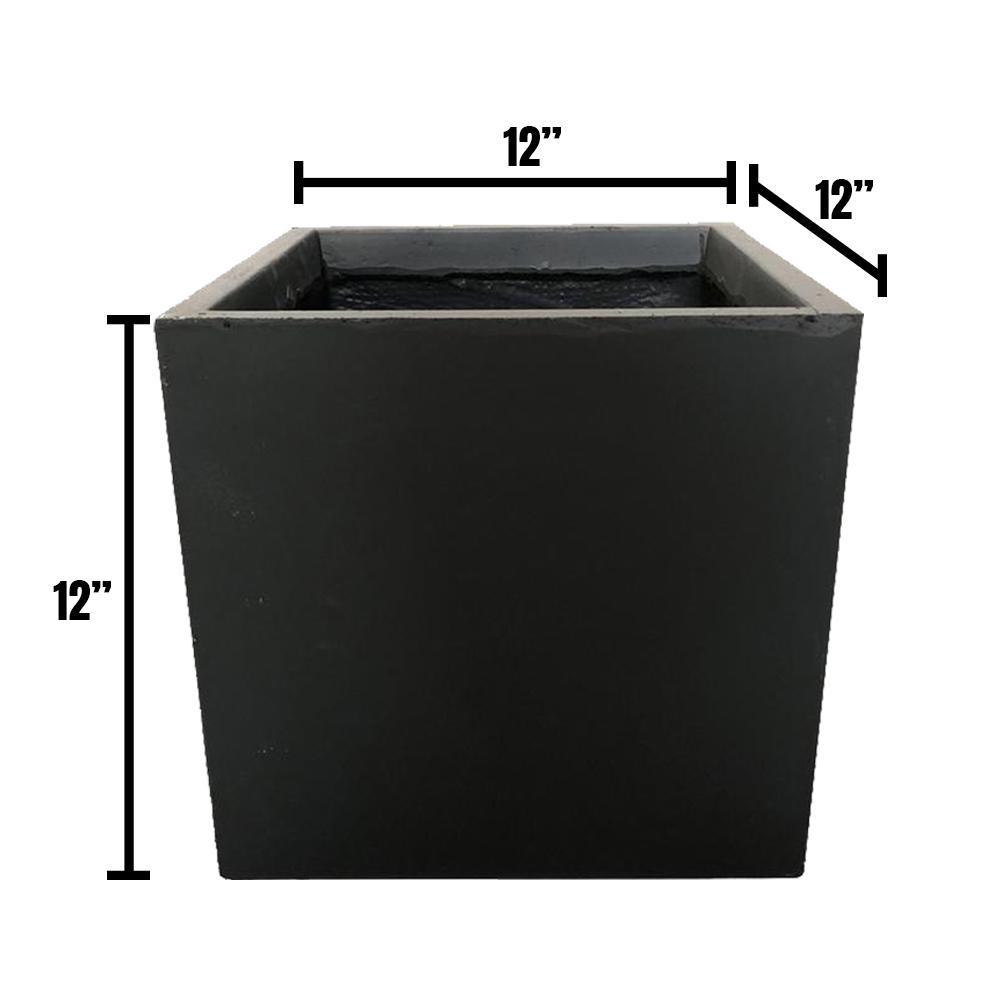 Medium 11.8 in. x 11.8 in. x 11.8 in. Granite Lightweight Concrete Modern Square Planter