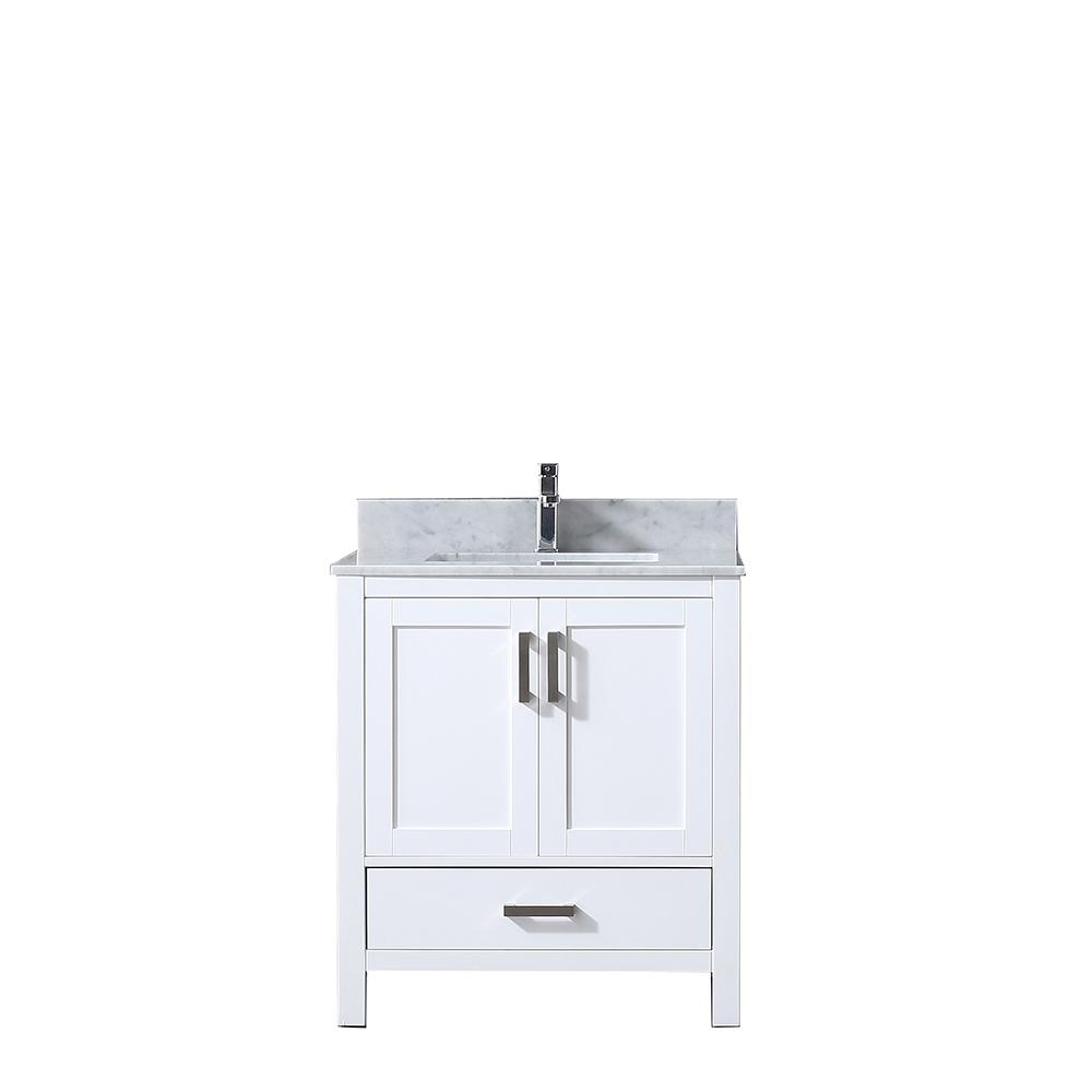 Lexora Jacques 30 in. Single Vanity White, White Carrera Marble Top, White Square Sink and no Mirror