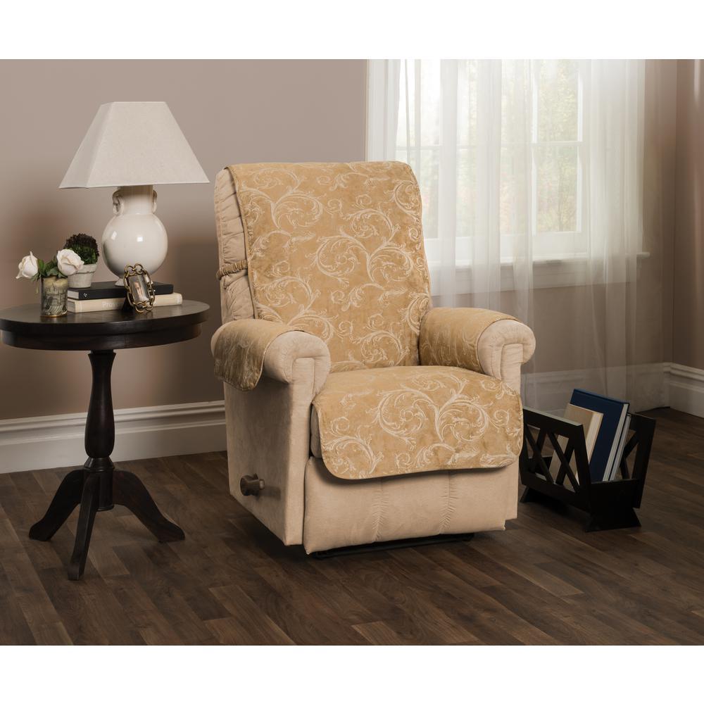 Lemont Gold Scroll Jacquard Recliner Furniture Cover Slipcover
