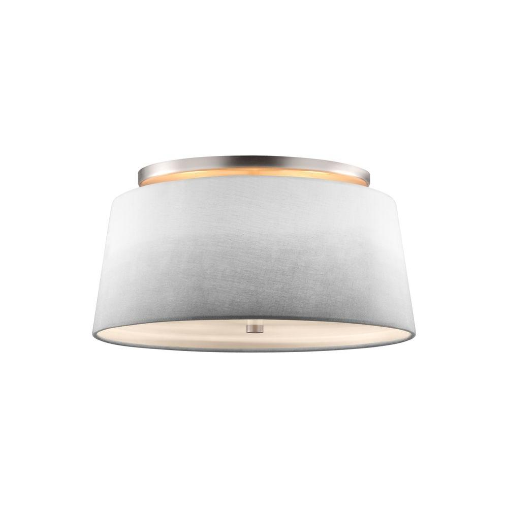 Tori 3-Light Satin Nickel Semi Flush Mount