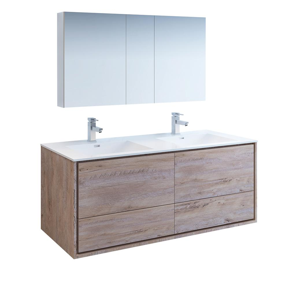 Strange Fresca Catania 60 In Double Wall Hung Vanity In Rustic Natural Wood With Vanity Top In White With White Basin Medicine Cabinet Home Interior And Landscaping Ponolsignezvosmurscom