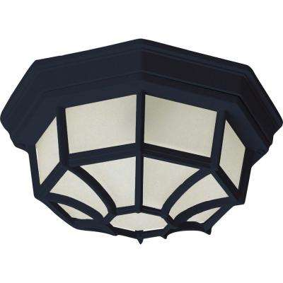 Maxim 11.5 in. Wide Black 1-Light Outdoor Flush Mount
