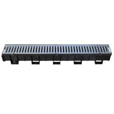 Easy Drain Series Black 5.4 in. x 39.4 in. Modular Trench and Channel Drain with Galvanized Steel Grate