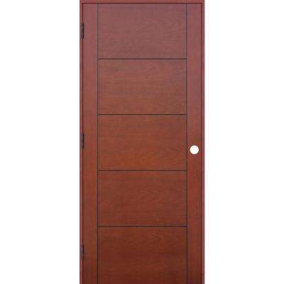 28 in. x 80 in. Contemporary Prefinished 5-Panel Flush Hollow Core Mahogany Wood Reversible Single Prehung Interior Door