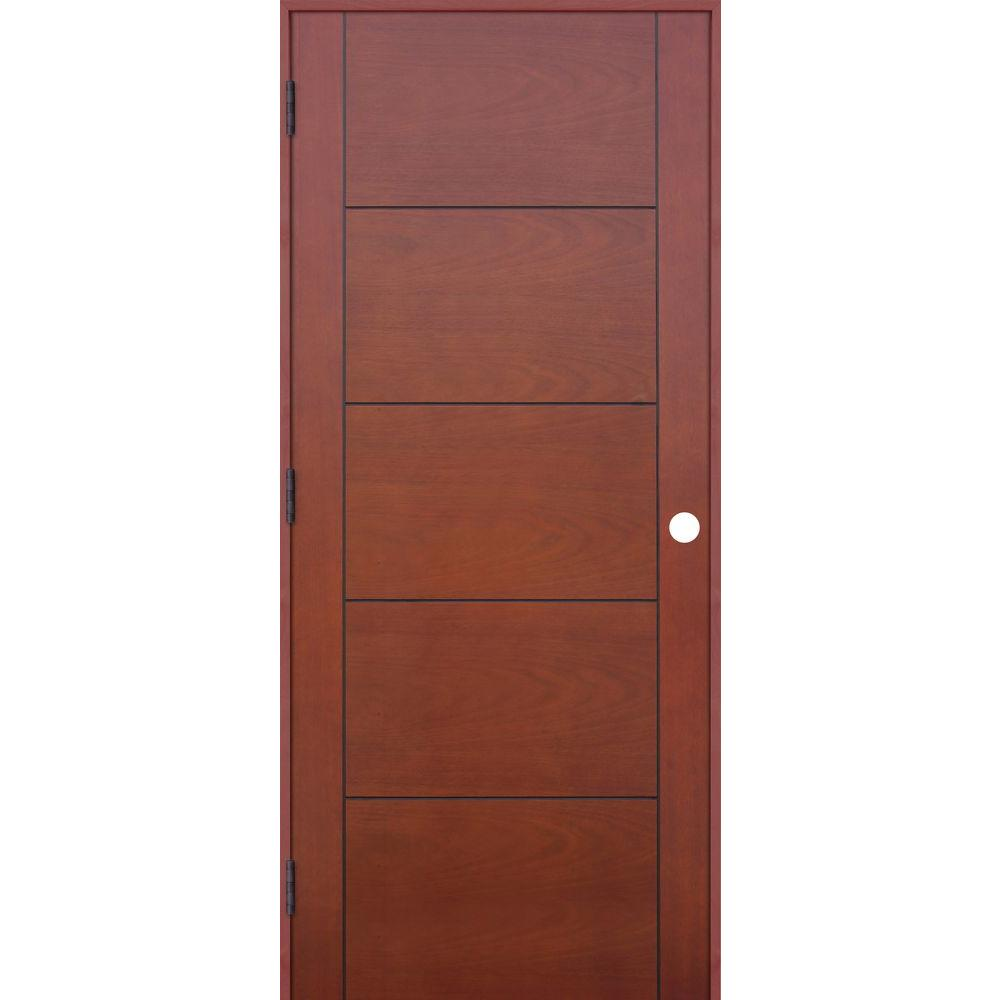 Contemporary Prefinished 5 Panel Flush Hollow Core Mahogany Wood Reversible  Single Prehung Interior Door