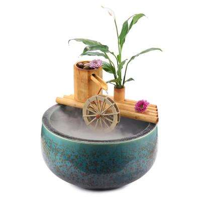 18 in. Bamboo Fountain with Plant Holder and Rock Stream-Complete with Pump and Tubing