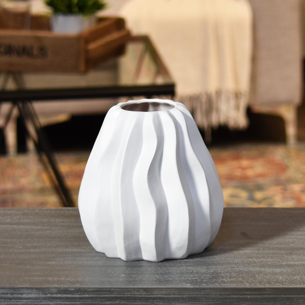 White Matte Finish Ceramic Decorative Vase