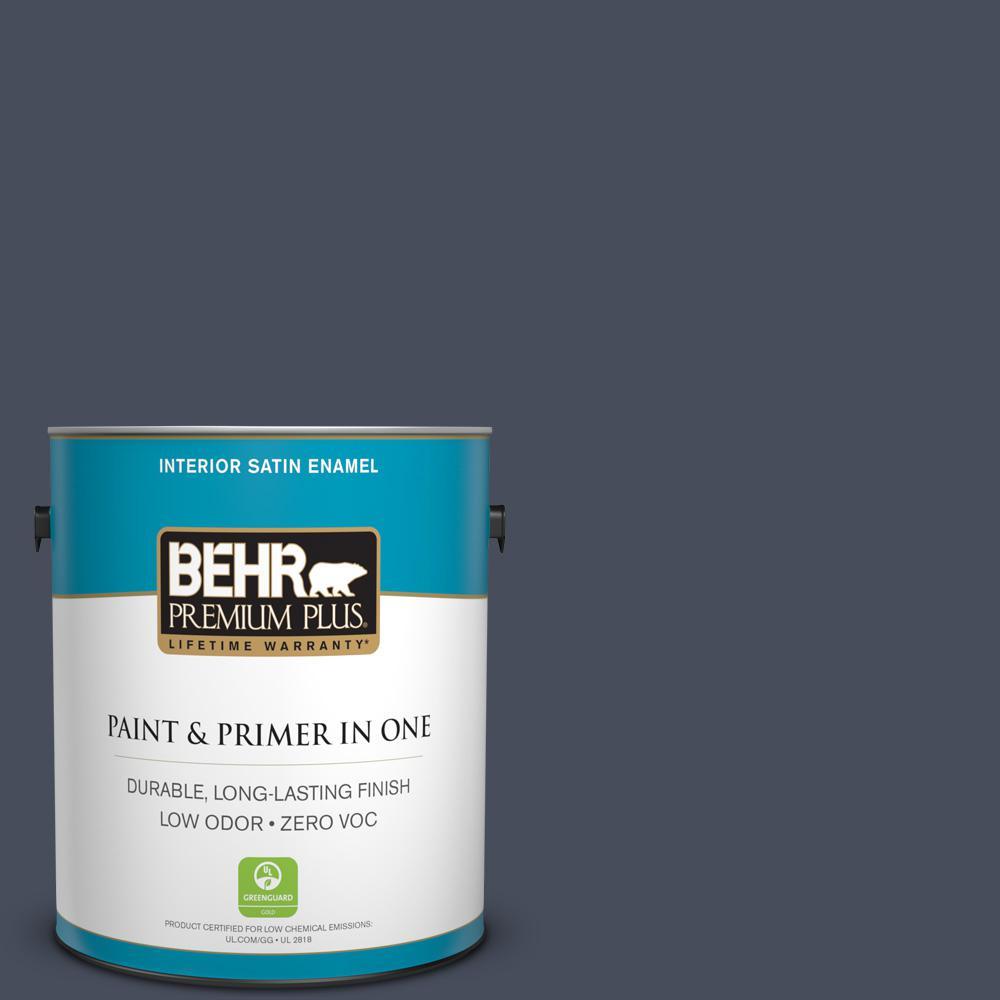 BEHR Premium Plus 1-gal. #S510-7 Dark Denim Satin Enamel Interior Paint
