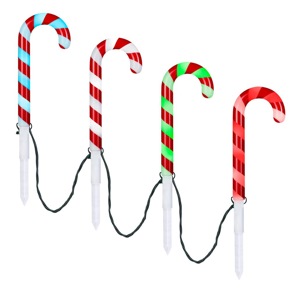 Lightshow LightShow 18 in. Christmas ColorChanging Pathway Stakes Candy Cane (Set of 4)