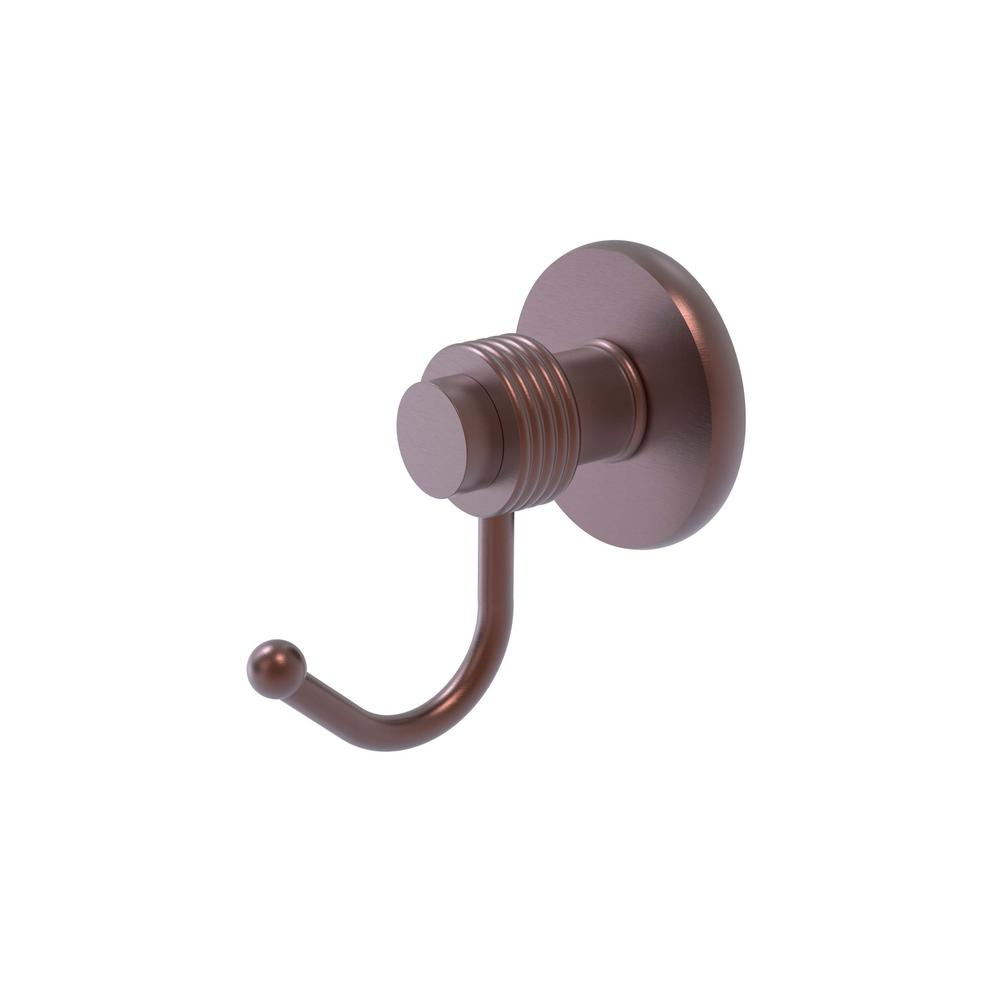 Mercury Collection Wall-Mount Robe Hook with Groovy Accents in Antique Copper
