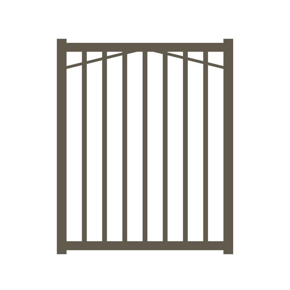 Allure Aluminum Metropolitan 3 ft. W x 4 ft. H Bronze Aluminum 2-Rail Fence Gate