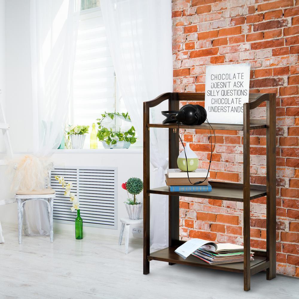 Stratford Warm Brown 3-Shelf Folding Bookcase