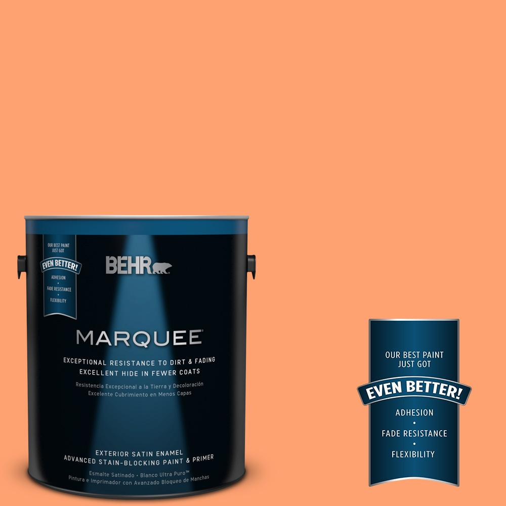 BEHR MARQUEE 1-gal. #P210-5 Cheerful Tangerine Satin Enamel Exterior Paint
