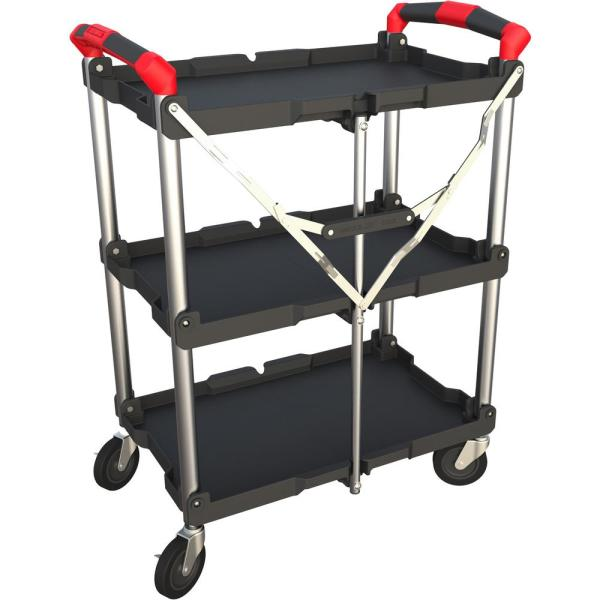 Pack N Roll 3 Shelf Collapsible 4 Wheeled Resin Multi Purpose Utility Cart In Black Red 410 007 The Home Depot