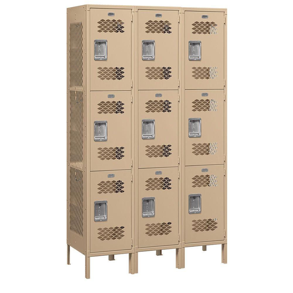 Salsbury Industries 83000 Series 45 in. W x 78 in. H x 18 in. D 3-Tier Extra Wide Vented Metal Locker Unassembled in Tan