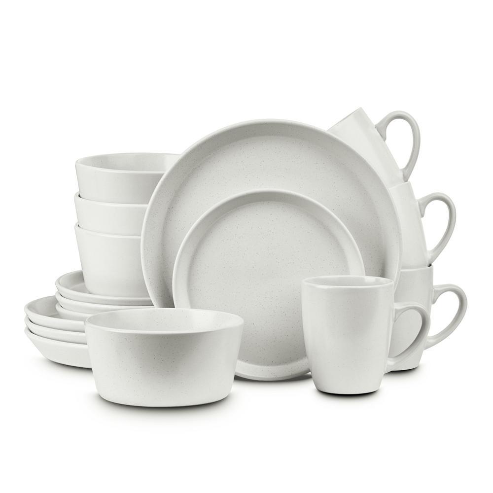 16-Piece Casual Snow White Stoneware Dinnerware Set (Set for 4)
