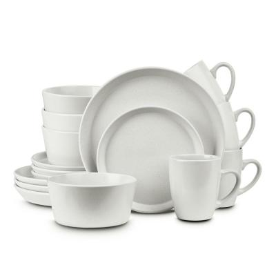 16-Piece Snow White Glaze Stoneware Round Dinnerware Set