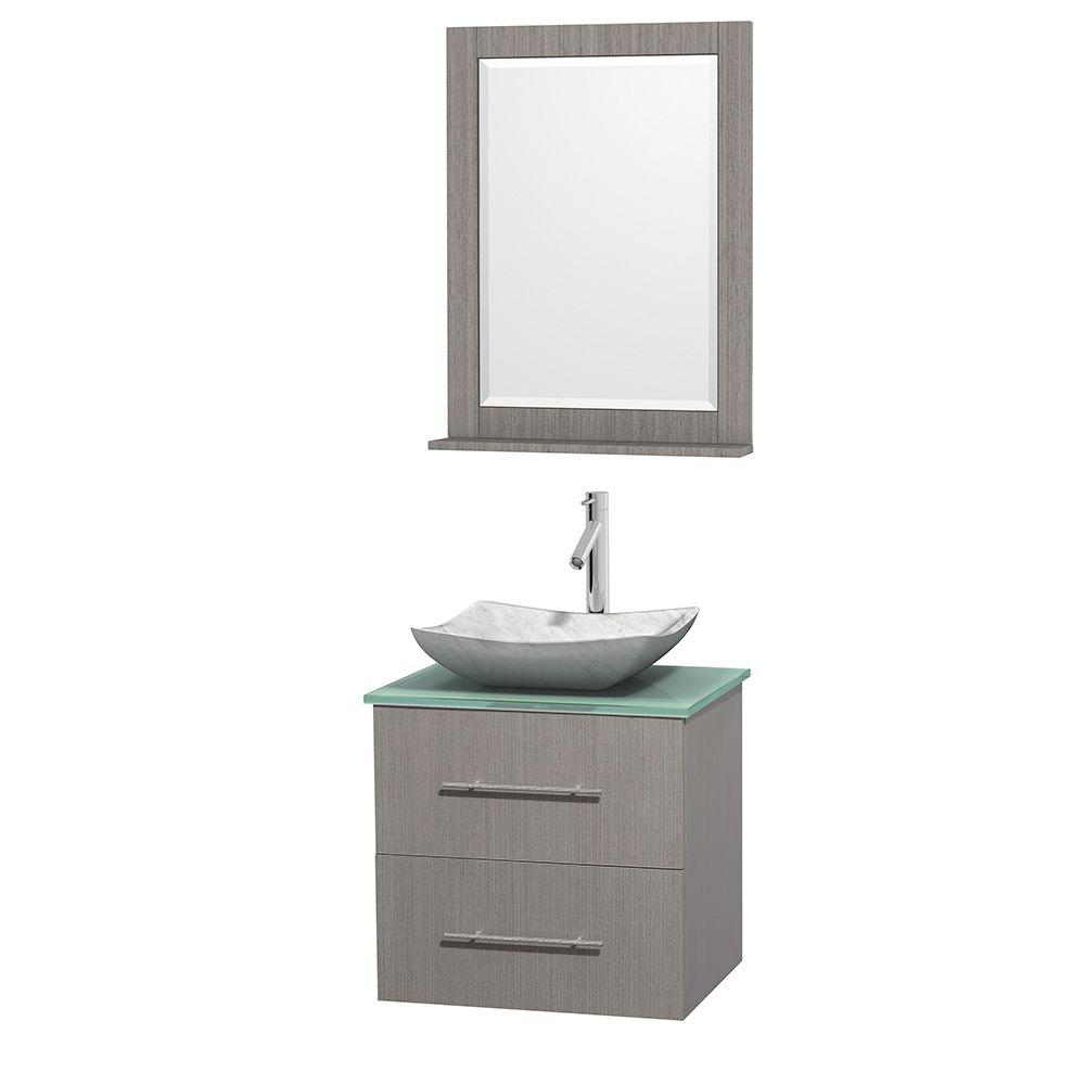 Wyndham Collection Centra 24 in. Vanity in Gray Oak with Glass Vanity Top in Green, Carrara White Marble Sink and 24 in. Mirror