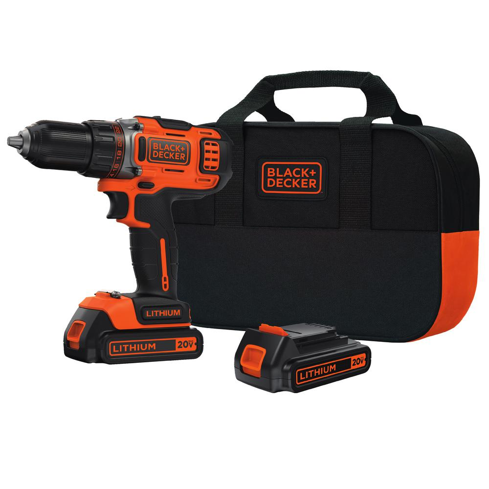 BLACK+DECKER 20-Volt MAX Lithium-Ion Cordless 1/2 in. Drill/Driver with (2) Batteries 1.5Ah, Charger and Kit Bag