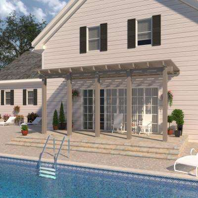 20 ft. x 12 ft. Adobe Aluminum Attached Open Lattice Pergola with 5-Posts Maximum Roof Load 20 lbs.