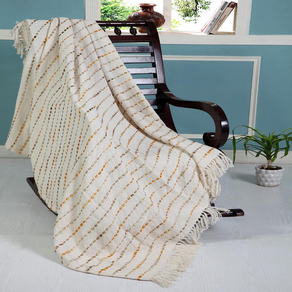 Dashing Multi 50 in x 60 in Brown/Cream Throw Blanket