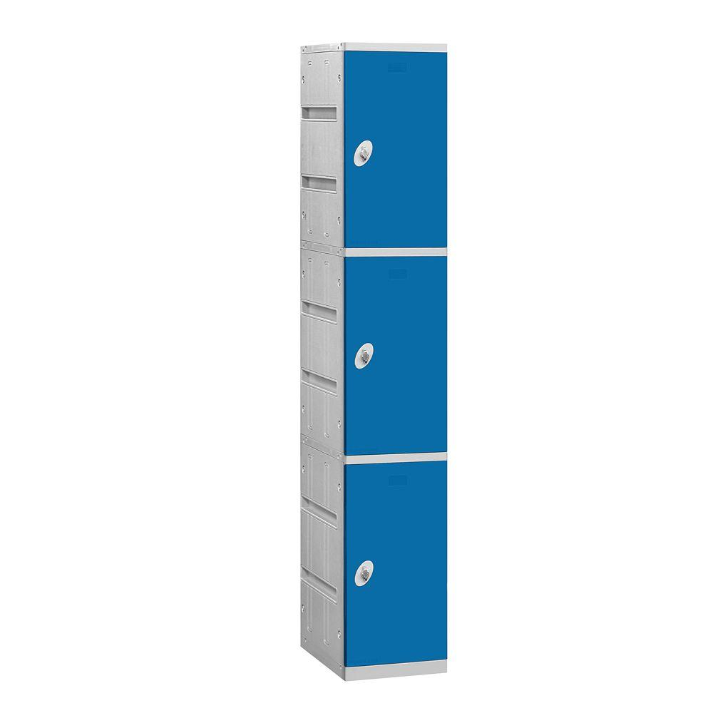 Salsbury Industries 93000 Series 12.75 in. W x 74 in. H x 18 in. D 3-Tier Plastic Lockers Assembled in Blue