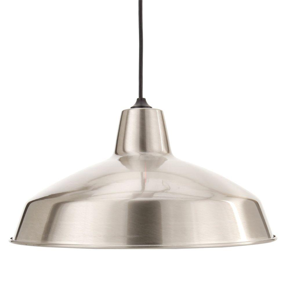 Hampton bay pendant lights lighting the home depot 1 light brushed nickel warehouse pendant aloadofball