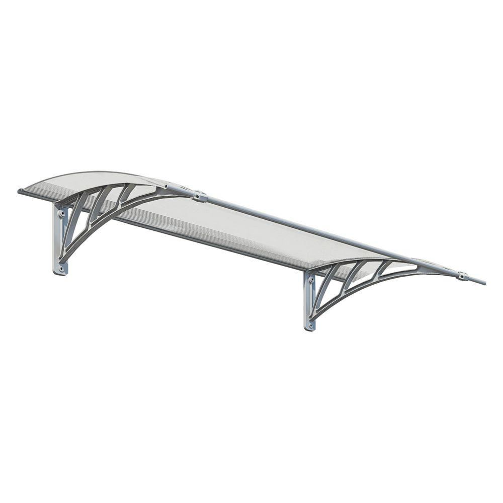 Palram Neo 1350 4 ft. 6 in. Gray/Clear Twin-wall Door Canopy Awning