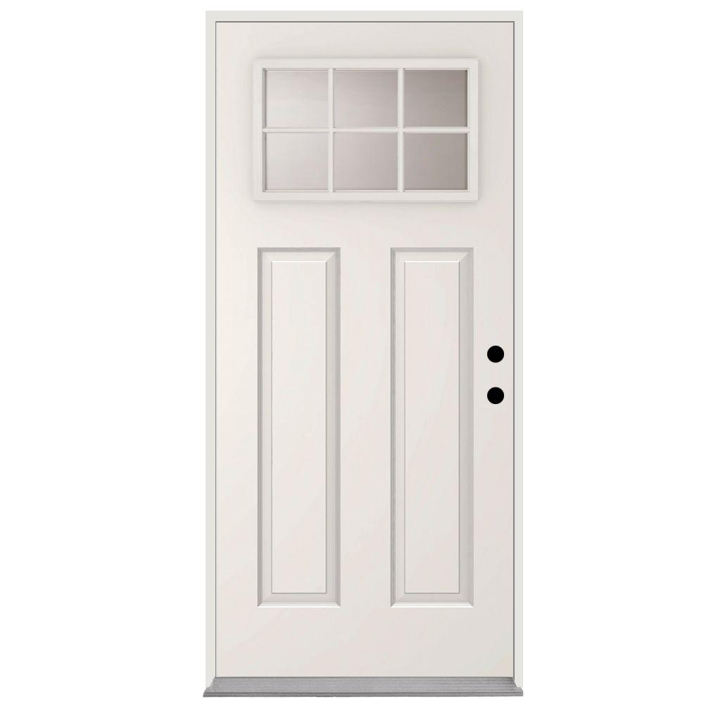 Steves & Sons 32 in. x 80 in. 6 Lite Left-Hand Inswing Primed White Steel Prehung Front Door with 4 in. Wall