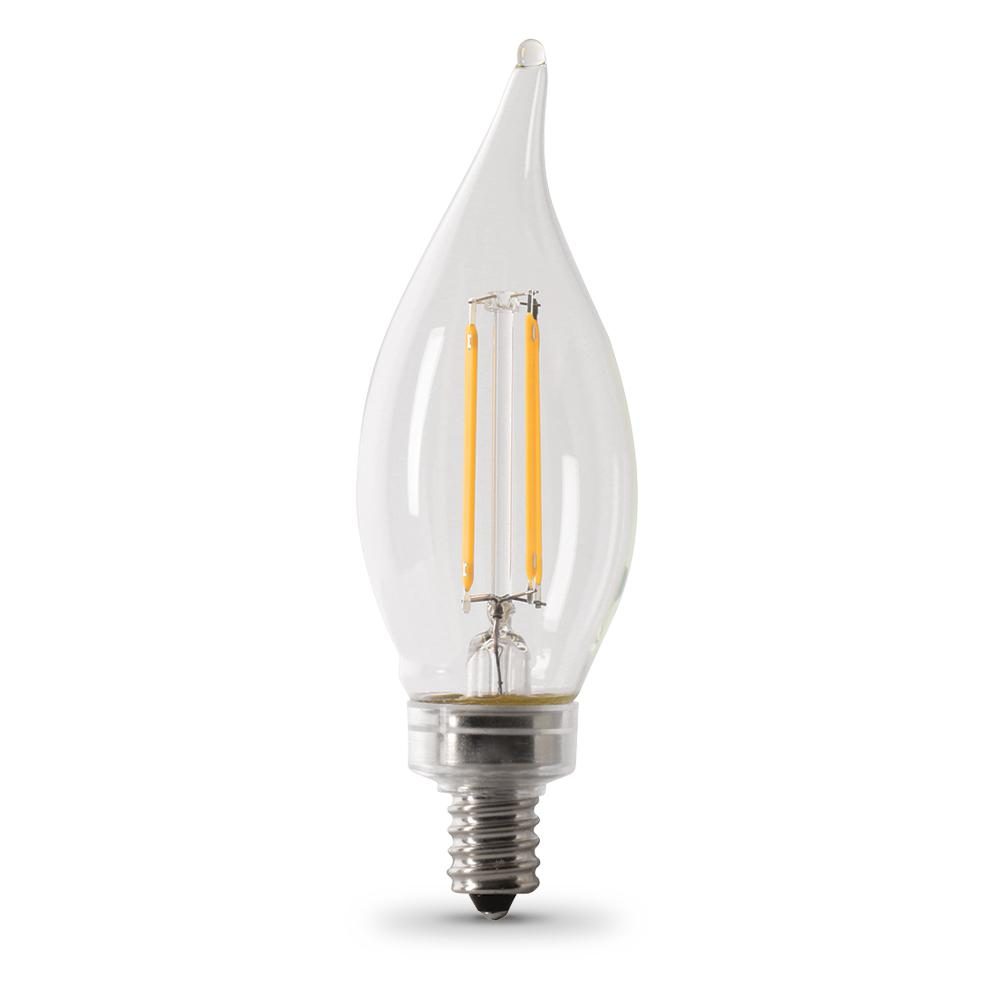 Feit Electric 40-Watt Equivalent CA10 Candelabra Dimmable Filament CEC LED Clear Glass Light Bulb  sc 1 st  Home Depot & Feit Electric 40-Watt Equivalent CA10 Candelabra Dimmable Filament ...